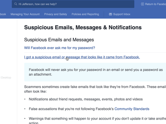 Facebook's official stance on phishing
