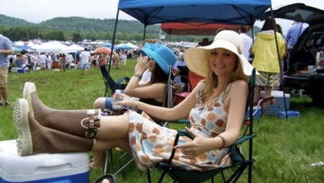 Sundresses and rain boots? Absolutely appropriate for Steeplechase, as Kimberly Novosel demonstrates.