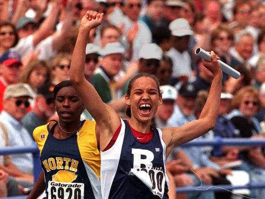 Roosevelt's Lolo Jones shows her joy after anchoring