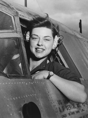 WASP pilot Elizabeth L. Remba Gardner of Rockford, Illinois, poses for a photo at Harlingen Army Air Field, Texas.