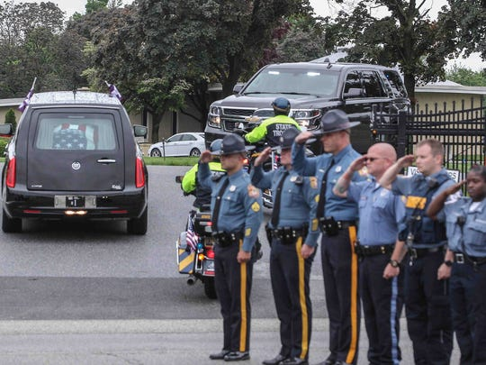 Many pay respects to Cp. Stephen Ballard, who was laid to rest Friday, May 5, 2017, at Grace-lawn Memorial Park in New Castle.