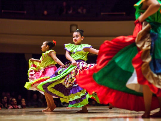 Junior members of Borinquen Dance Theatre perform a traditional Puerto Rican folkloric dance in  2016 at Hochstein School of Music & Dance.