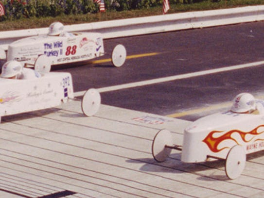 Hailey Simpson, center, from Salem, Oregon, was the All-American Soap Box Derby, (AASBD), World Champion Stock winner in the 1998 race in Akron, Ohio. Salem Oregon has produced 7 World Champions in the history of the AASBD national races since their inception in 1934.(Image provided by All-American Soap Box Derby)