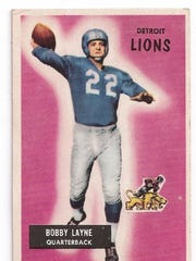 Bobby Layne led the 1954 Lions, their best team ever, according to fivethirtyeight.com. This card is from '55.