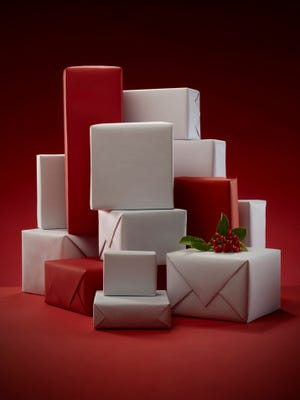 Stack of wrapped Christmas presents