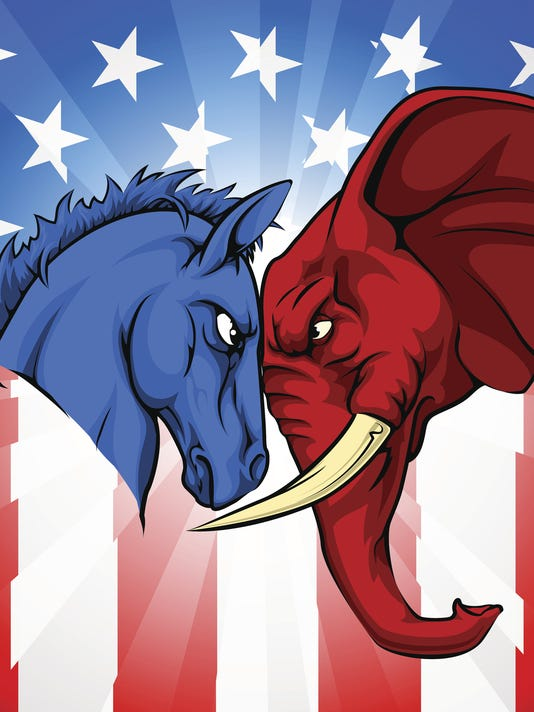 Donkey Elephant American Election Concept