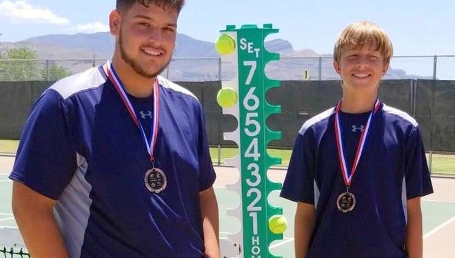 Senior Wildcat Isaac Acosta, left, and eighth grader Damien Lescombes qualified for the Class 5A State Doubles Championship with a third-place finish at the District 3-5A Tennis Tournament.