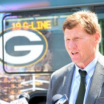 Packers president Mark Murphy talks after announcing the new free G-Line bus route connecting Lambeau Field with downtown Green Bay on July 22, 2015.