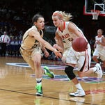 Valley senior Grace Vander Weide moves the ball up the court against Iowa City West on Friday, March 6, 2015, during the 5A girls semifinals at the 2014-15 Iowa girls basketball tournament in Des Moines.