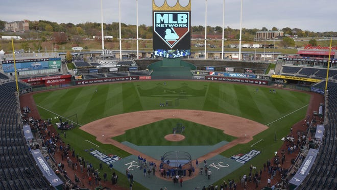 A view of Kauffman Stadium ahead of Game 1.