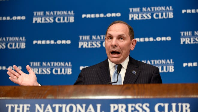 Veterans Affairs Secretary Robert McDonald talks about the state of the Veteran Affairs Department while speaking at a luncheon at the National Press Club in Washington, Friday, Nov. 6, 2015.