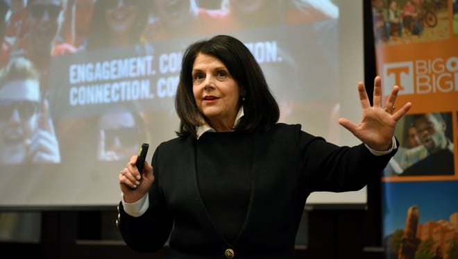 Beverly Davenport, the next chancellor at the University of Tennessee, speaking in an open forum with faculty and students in November.