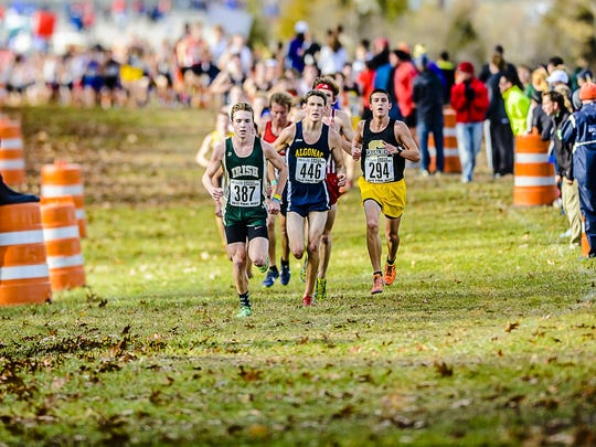 Noah Jacobs ,294, of Corunna paces Nathan Mylenek ,387, of Pontiac Notre Dame and Morgan Beadlescomb ,446, of Algonac at the 2 mile mark of their Division 2 championship race Saturday November 7, 2015 at Michigan International Speedway in Brooklyn. Jacobs would finish 2nd to Beadlescomb in the race. KEVIN W. FOWLER PHOTO