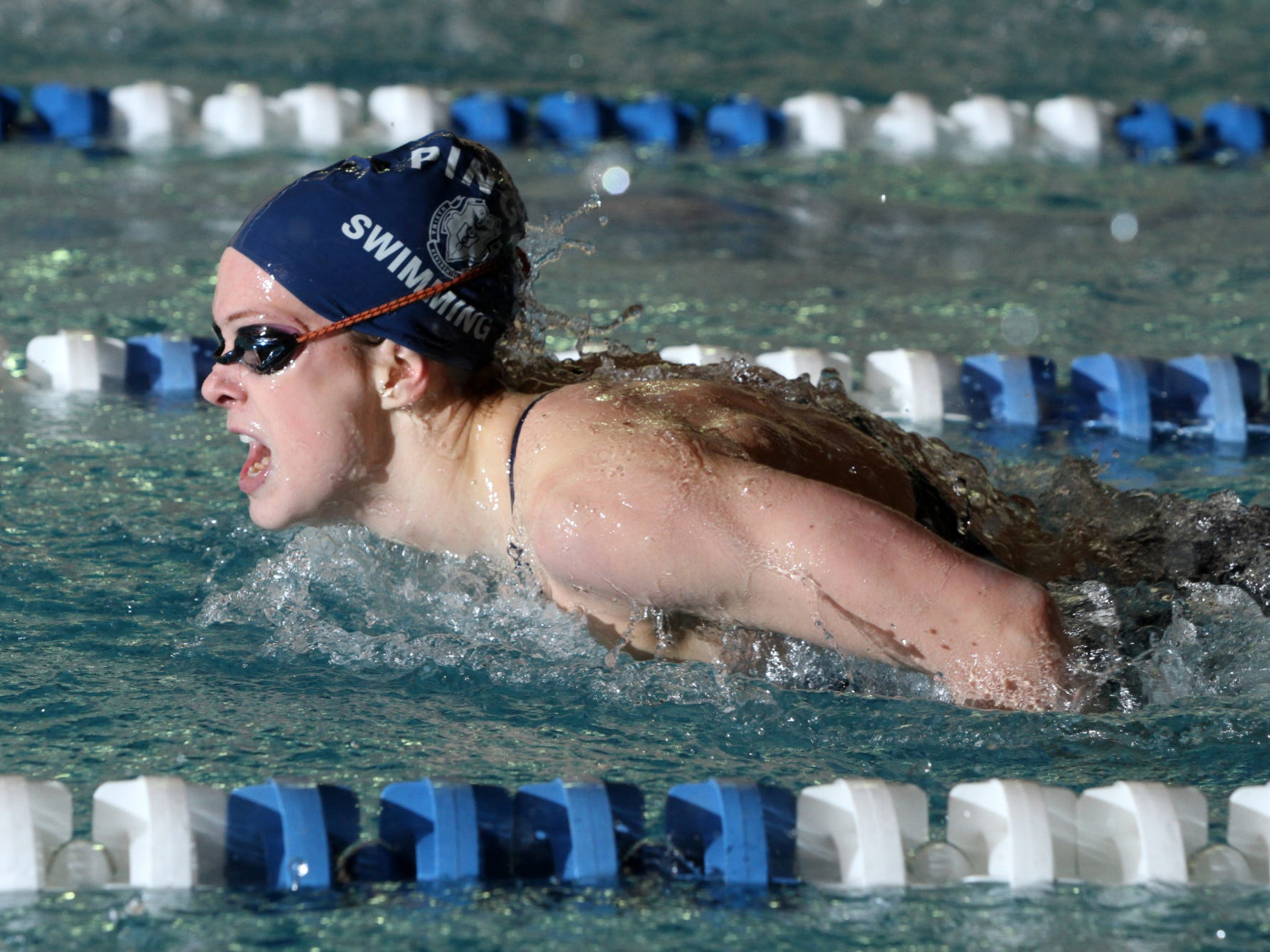 Pingry junior Hollie Hopf swims the 100-yard butterfly at a NJSIAA Non-Public B semifinal against Trinity Hall.