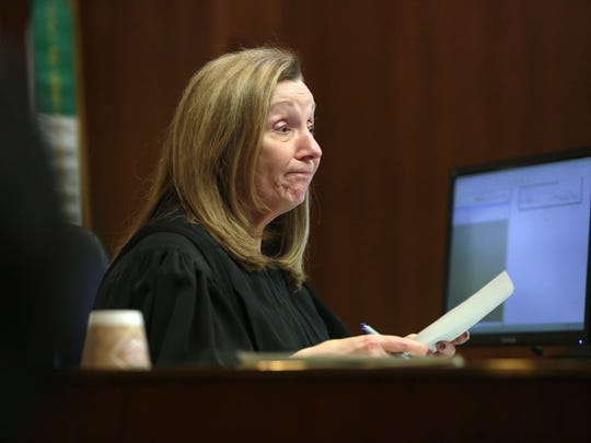 Oakland County Circuit Judge Martha Anderson speaks to the court during the re-sentencing hearing for Jennifer Pruitt, 41, for her role in a 1992 robbery gone bad that led to the murder of a 75-year-old grandfather, Elmer Heichel, on Thursday February 9, 2017 at the Oakland County Courthouse in Pontiac.