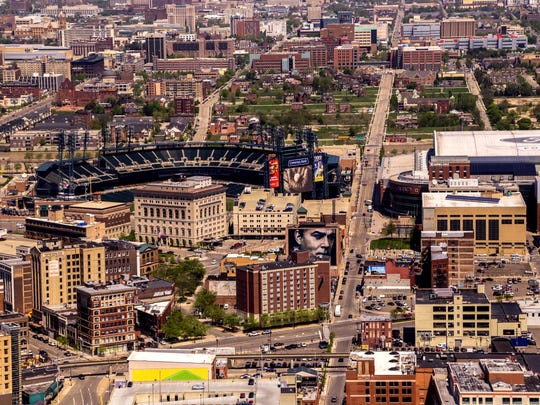 Comerica Park and Ford Field in downtown Detroit in May 2014 from the view at the Marriott in the Renaissance Center.