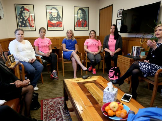 "From left, Sen. Jackie Winters, Lakotaka Jason, 39, of Eugene, Ashley Dorety, 30, of Portland, ""Orange is the New Black"" author Piper Kerman, Christina Hulse, 35, of Portland, Nova Sweet, 44, of Corvallis, and Rep. Jennifer Williamson, discuss alternatives to prison time for women and parents in Oregon, in Rep. Williamson's office at the Oregon State Capitol in Salem on Wednesday, April 26, 2017."