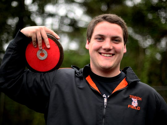 Sprague senior Austin Kleinman has earned the top marks for both discus and shot put in the Greater Valley Conference so far this season. Photographed at Sprague High School in Salem on Tuesday, May 2, 2017.