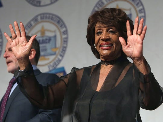 U.S. Congresswoman Maxine Waters greets the crowd during the annual Freedom Fund dinner of the Detroit branch NAACP on Sunday, April, 23, 2017 at Cobo Center in Detroit.