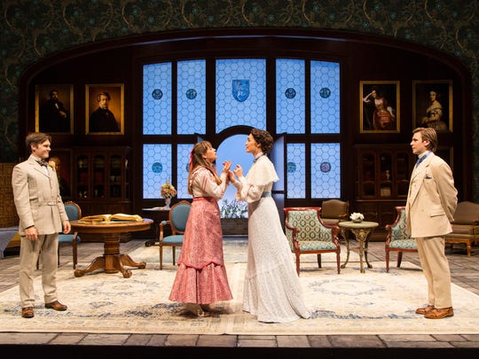 """Sam Lilja (Algernon Moncrieff), Liesel Allen Yeager (Cecily Cardew), Rosa Gilmore (Gwendolen Fairfax) and Federico Rodriguez (John Worthing) in """"The Importance of Being Earnest"""" at Two River Theater."""