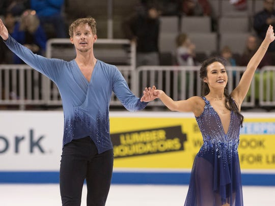 Madison Chock and Evan Bates perform in the dance free skate program during the 2018 U.S. Figure Skating Championships at SAP Center on Jan. 7 in San Jose, Calif.