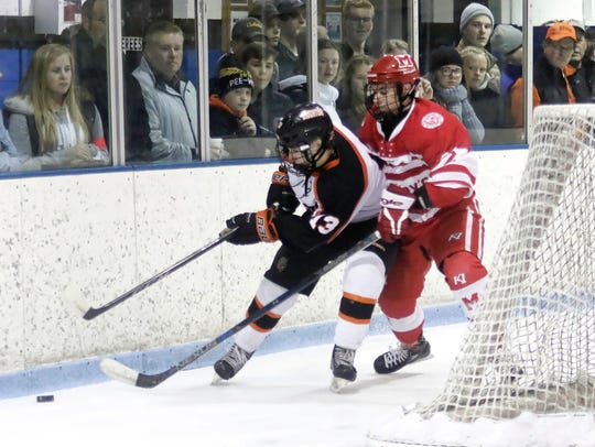 Brighton's Kyle Cogan (13) battles for the puck behind