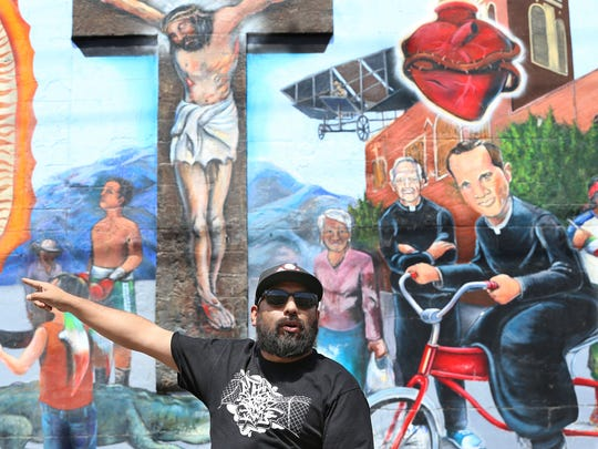 "El Paso artist and muralist Jesus ""Cimi"" Alvarado gave a bike tour of downtown murals, including his own, in the Segundo Barrio last year."