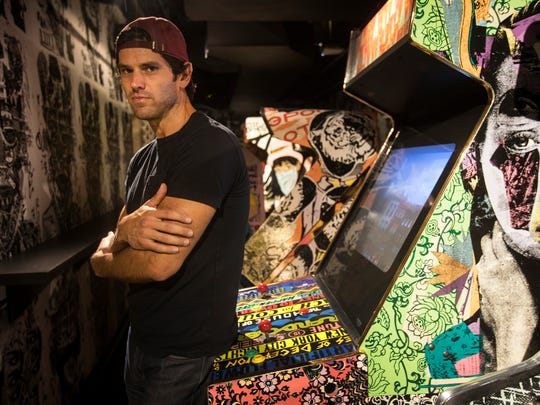 Anthony Curis, co-owner of Deluxx Fluxx is opening the new downtown venue that will combine music performance, art installation, video and arcade games near the Z garage in Detroit, Monday, July 30, 2018.