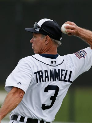 Tigers legend Alan Trammell, special assistant to the general manager, throws batting practice at spring training on Feb. 26 in Lakeland.