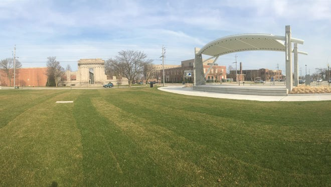 View of the City Green stage. The space, located on the corner of New York Ave. and North 7th St. will be home to multiple events and partnerships this summer. Concerts will be held there throughout the summer. Events will begin in June.