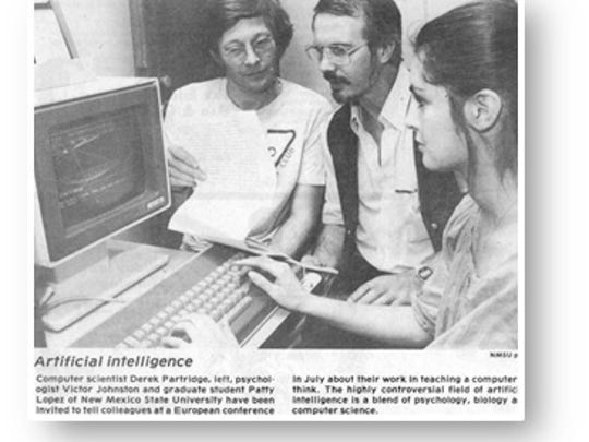 In this photo from the NMSU RoundUp, circa 1979-1980, Patty Lopez speaks with NMSU computer science professor Derek Partridge and psychology professor Victor Johnson.