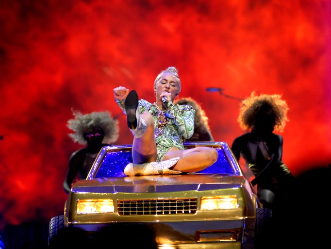 Miley Cyrus at the Yum Center.  Aug. 09, 2014 Maggie Huber, Special to The C-J