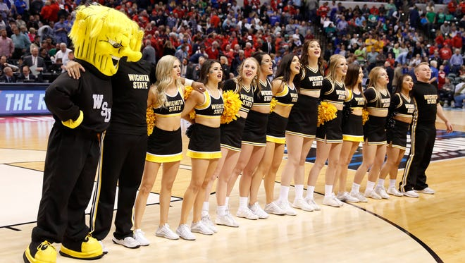 Wichita State Shockers cheerleaders and mascot perform after the game against the Kentucky Wildcats the first round of the 2017 NCAA Tournament at Bankers Life Fieldhouse on March 17.