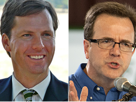 State legislator and Auditor-elect Mike Harmon, right, defeated Auditor Adam Edelen in November.