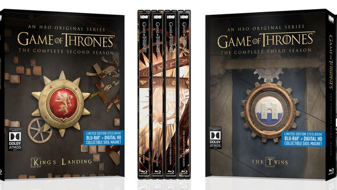 Photo of the new Game of Thrones Steelbook collector Blu-ray Disc sets beginning to hit the market Nov. 3, 2015.