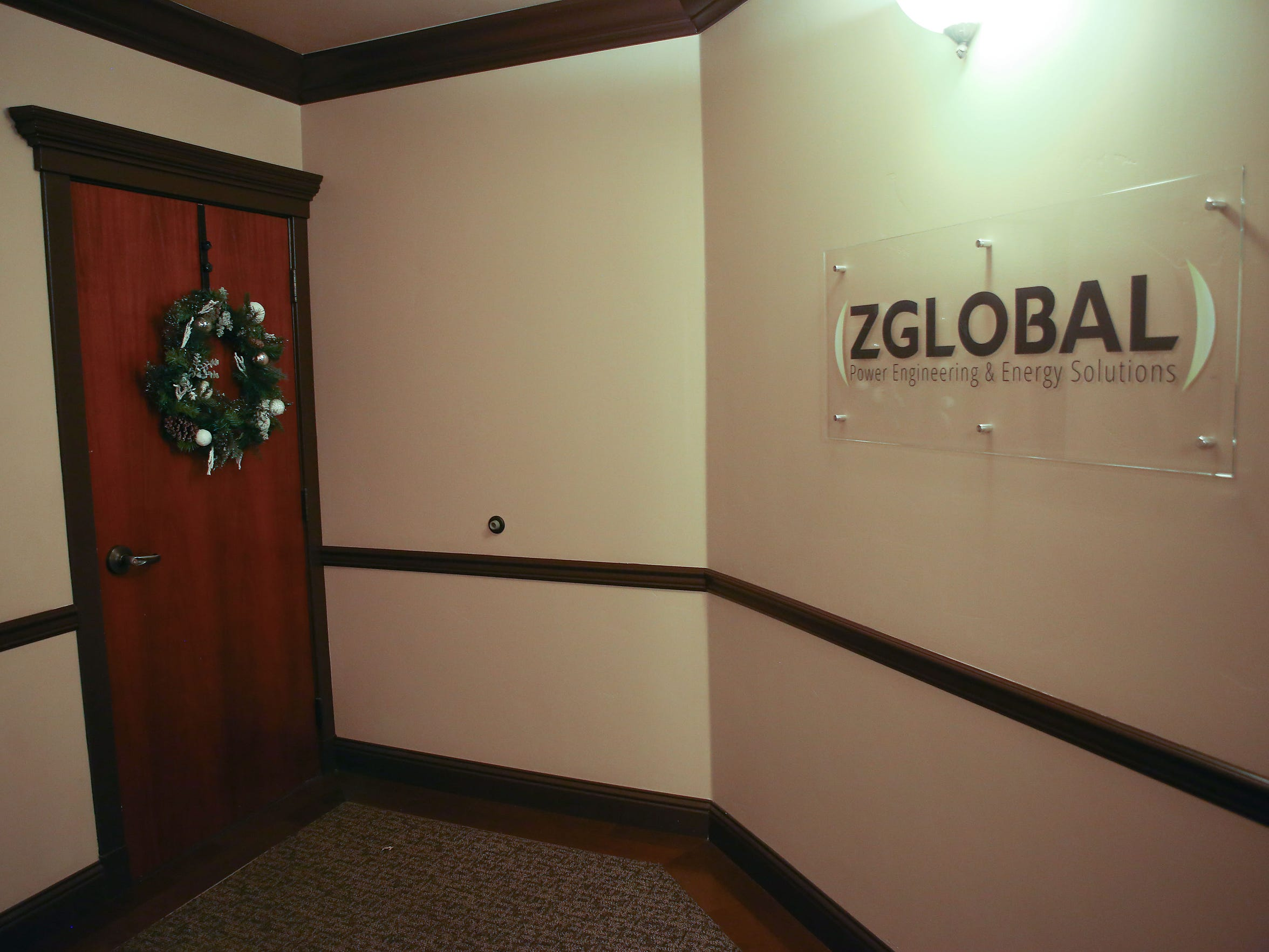 The entryway to ZGlobal's headquarters in Folsom, California,