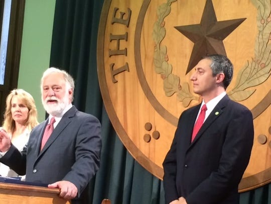 State Sen. Kirk Watson and Rep, Giovanni Capriglione, right, push for open government legislation at the Texas Capitol on  Jan. 3, 2017.