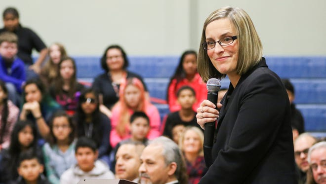 Superintendent Christy Perry speaks at Waldo Middle School in January 2016.