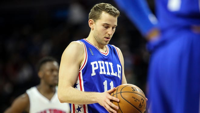 Philadelphia 76ers Nik Stauskas shoots a free throw, during the first half at the Palace of Auburn Hills in Auburn Hills, Mich. on Wednesday, Jan. 27, 2016. Kimberly P. Mitchell/Detroit Free Press