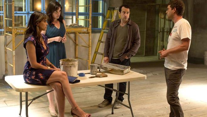 "Amanda Peet, Melanie Lynskey, Steve Zissis, Mark Duplass in HBO's ""Togetherness."""