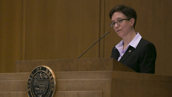 Speaker of the House Tina Kotek asks if there are any other representatives who would like to declare a conflict of interest during a vote to increase the minimum wage on Thursday, Feb. 18, 2016. Several Republican senators rose to declare a conflict of interest, citing that increasing the minimum wage in Oregon may also affect legislative pay.