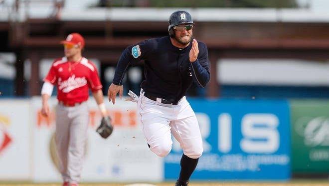 Detroit Tigers' Tyler Collins runs to thirds base during an exhibition game against Florida Southern at Joker Marchant Stadium in Lakeland, Fla. on Monday, Feb. 29, 2016.
