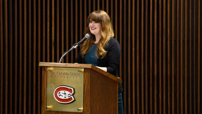 Alexandra Tweten speaks during a presentation Thursday at St. Cloud State University. Tweten is the creator of the popular Instagram account, @ByeFelipe.