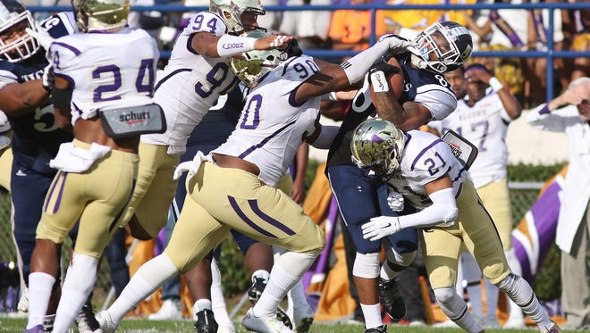 Michael Brooks Jr. (94) and Kenyon Brantley (90) are returning members of Alcorn State's stout front seven.