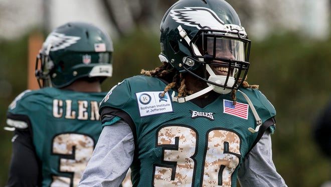 Newly acquired Philadelphia Eagles running back Jay Ajayi (36) has a laugh during his first workout with the Eagles Wednesday, Nov. 1, 2017 in Philadelphia.