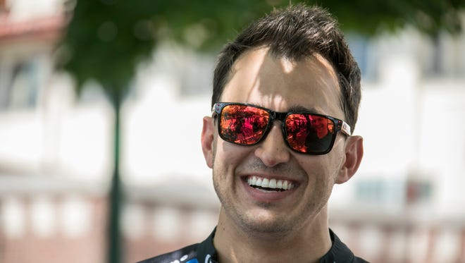 IndyCar racer Graham Rahal is interviews before the 2018 Chevrolet Detroit Grand Prix presented by Lear media luncheon at the Detroit Yacht Club on Belle Isle Thursday, May 31, 2018.
