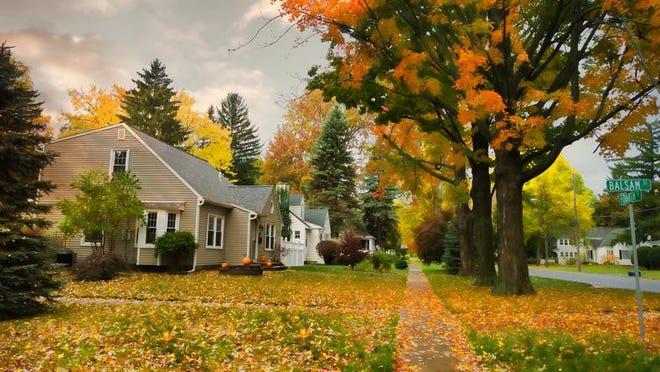 quiet village street in autumn