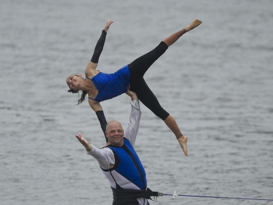 Aqua Skiers members Rich Taugner and Kelsey Sachs perform