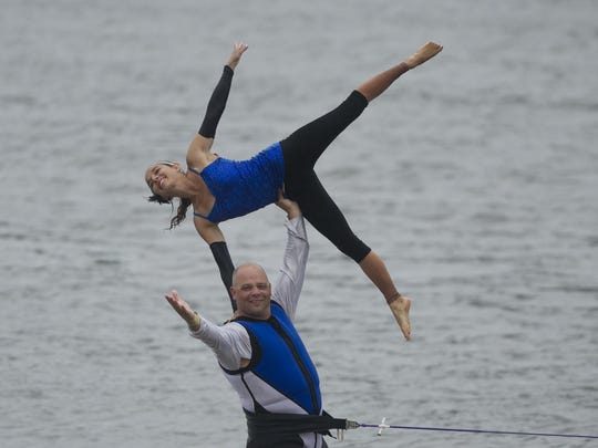 Aqua Skiers members Rich Taugner and Kelsey Sachs perform star doubles during the state water ski tournament. The team is competing in the Division 2 Show Ski Nationals this weekend in Tomahawk.