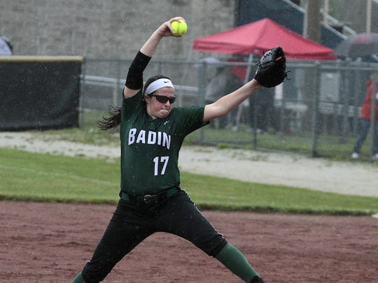 Danielle Ray of Badin, shown pitching against Roger Bacon, had five scoreless innings going into the sixth with Northwestern..